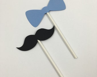Mustache and Bow Tie Cupcake Toppers (set of 12)