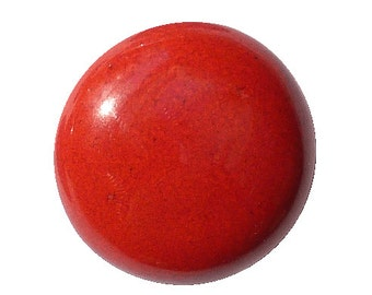 Red enameled ceramic button. Snap button.