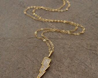 Lightning Bolt Diamond CZ Pave Pendant Necklace - Layering Necklace - Pave Pendant Necklace - Gold Lightning Bolt  Necklace