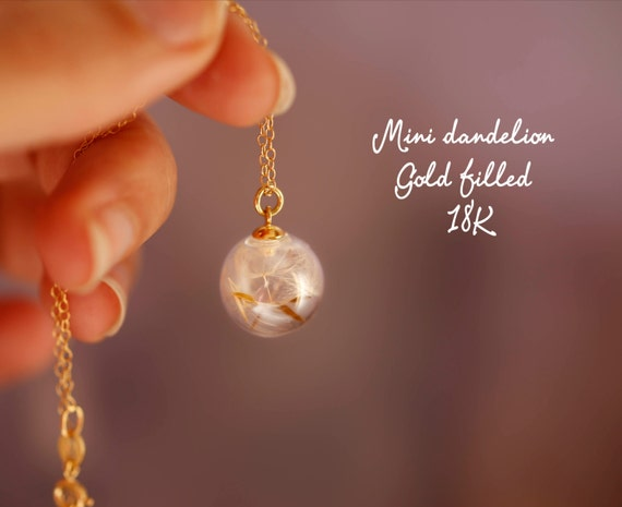 Mini Dandelion necklace - 18k gold filled - real flowers - make a wish - glass orb - dandelion seeds - bridesmaid gift - wedding