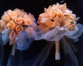 Peach Wedding Bouquet Set