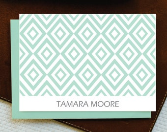 Personalized Stationery / DIAMONDS - Custom Stationery Note Cards - Modern Stationery Set