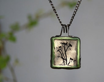 necklace with raku ceramic, metalwork, raku firing technique, handmade