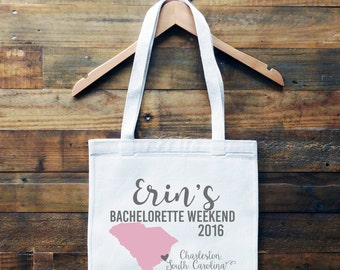 South Carolina Personalized Tote Bag // Charleston Bachelorette Bag