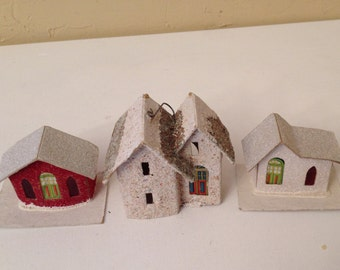 Vintage Lot of 3 vintage Putz Japanese-made paper cardboard Christmas houses - 1940's