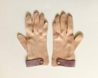 Vintage Pink & Purple Day Gloves with Button Detail