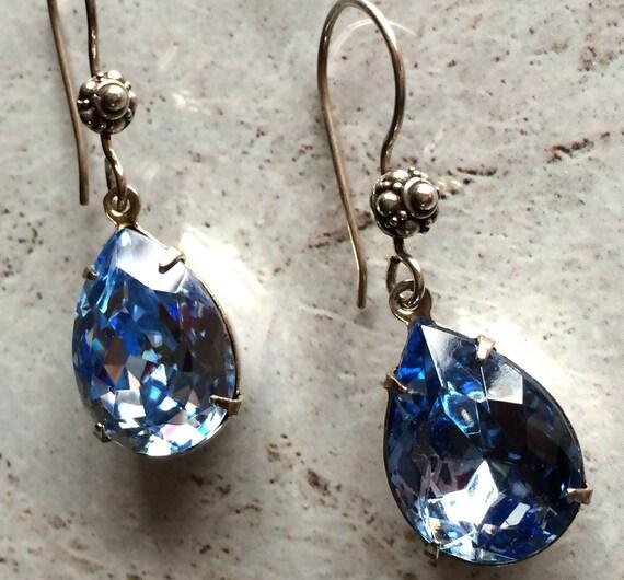 Sapphire Rhinestone Drop Earrings Sterling Silver Dangle