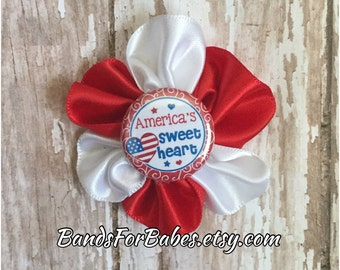 Girls Patriotic Satin Flower Hair Clip, Red White and Blue Alligator Clip, Satin Flower America's Sweetheart Hair Bow, Pigtail Clips, Bow