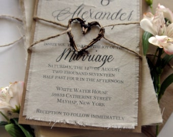 Rustic Wedding Invitation Boho Script Twine Fabric Invitation Grapevine Heart Fall Wedding Ideas