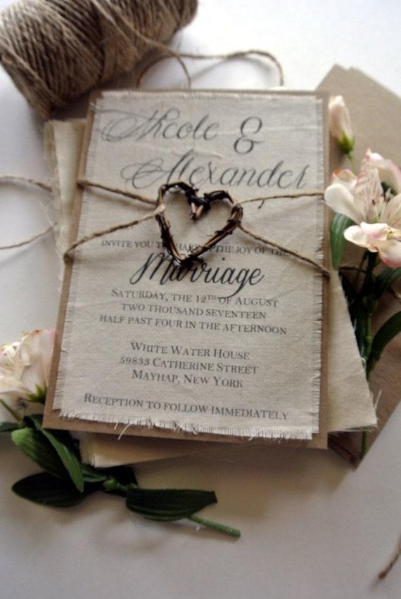 Rustic Spring Wedding Invitation Boho Script Twine Fabric
