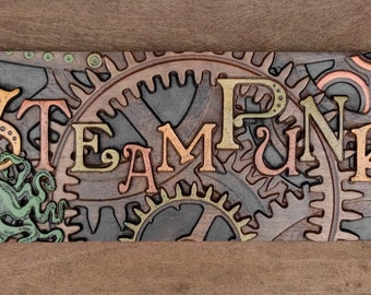 Carved Steampunk Sign in Walnut