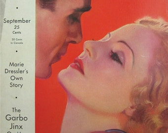 Original September 1932 Tallulah Bankhead & Gary Cooper Photoplay Magazine Cover By Earl Christy - Hollywood's Golden Age - Free Shipping