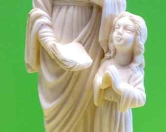 Beautiful Virgin Mother Mary Madonna With A Little Girl Sculpture By G Ruggeri Made In Italy