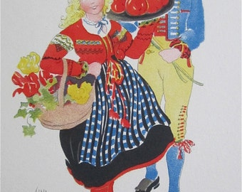 Original Aina Stenberg Artist Signed Postcard - Swedish Teens In Traditional Costume - Free Shipping
