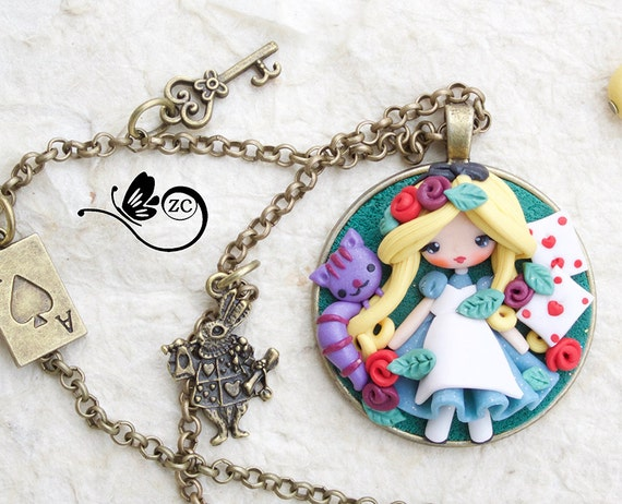 polymer clay necklace / fairy/ fimo/ clay / zingara creativa / alice polymerclay / alice