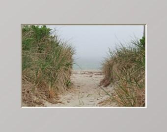 Sand Path Beach Photography Cape Cod Photograph Sandy Dunes Wall Art Coastal New England Home Fog Decor Ocean Mist Sand Beach Path Art