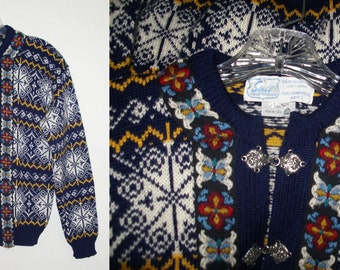 SALE SIRIl Kirdalstrik Karl Johansgt Norwegian Icelandic Wool Fair Isle Nordic Jacket Sweater Cardigan 44 S/M