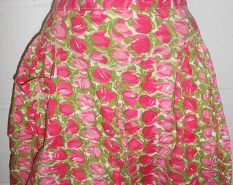 Vintage Mid Century Pink Green Floral Pleated Half Apron With Pockets