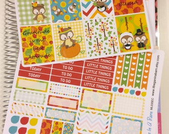 Thanksgiving Planner Stickers | Owl Planner Stickers | Erin Condren Vertical Planner | Happy Planner | Thanksgiving Owls | ML035