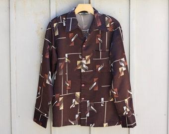 Men's 70s Shirt - 1970s Shirts for Men - Long Sleeve Button Down Shirt - Brown Polyester Shirt - Abstract Pattern Shirt - Retro Indie Shirt