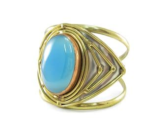 Vintage Mexico Brutalist Bracelet, Cuff, Blue Chalcedony, Copper, Brass, Nickle Silver, Abstract Bracelet, Modernist