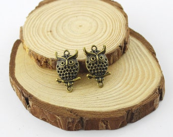 10pcs 14x26mm Antique bronze lovely owl pendant