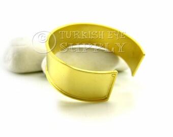 Brass Cuff Bracelet, Adjustable 22K Matte Gold Plated Blank Cuff Bracelet, Turkish Bracelet Jewelry