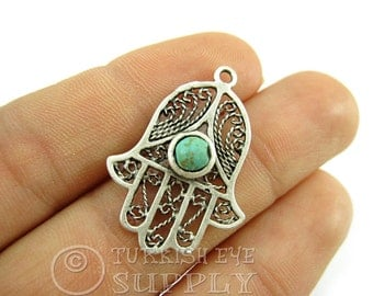 2 pc Filigree Hamsa Pendant with Turquoise Stone, Antique Silver Plated Hand of Fatima Charms, Turkish Jewelry