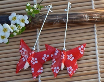 Butterfly earrings paper Japanese jewelry washi chiyogami paper jewelry dangling earrings Oriental gift for her bright red white flower