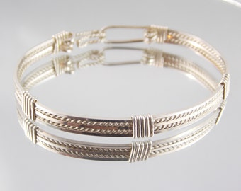 Multi-stranded Wrapped Sterling Silver Wire Bangle