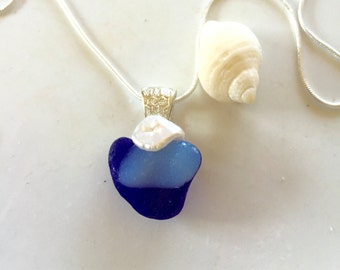 Davenport Heart- Davenport Sea glass necklace- Blue Sterling silver
