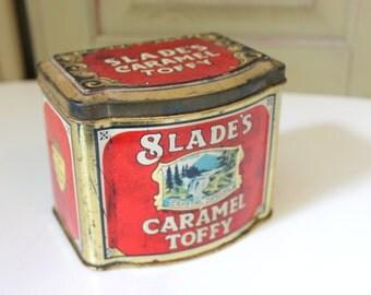 Vintage Slades Caramel Toffy Crystal Spring Made In England Tin Vintage Tin Vintage Metal Tin Vintage Container Vintage Can Advertising