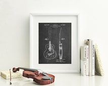 Rancher Guitar Patent Poster, Guitar Art, Music Room Decor, Rock and Roll,  PP0138