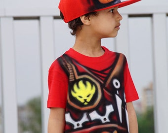 Red Ninjago Costume |Kai Ninja T-shirt and Snapback hat cap |Ninjago birthday party gift for boys & girls |Kids halloween costume |Carnival
