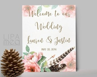 Printable Welcome Sign, Wedding Welcome Sign, Floral Welcome Sign, Shower Welcome Sign, Boho Welcome Sign, Wedding Reception Sign