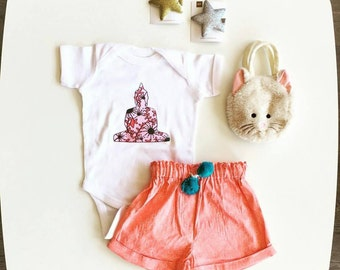 Buddha Baby Onesie for newborn, 6 mos, 12 mos, and 18 mos buddha graphic shirt