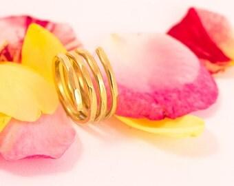 Spiral Gold Adjustable Ring, Spiral Adjustable Ring, Gold Spiral Ring, Gold Adjustable Ring, Gold Wrap ring, under50, Free shipping