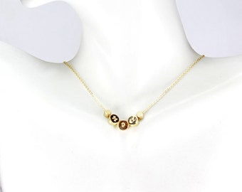 Date Necklace  Gold dot necklace. Wedding date.Anniversary, Birthday,Silver Gold Dot. Calendar Necklace,Number Date necklace,First communion