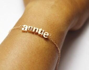 Rose Gold Letter Bracelet.Name Bracelet . Personalized up to 10 letter Bracelet,gift for Girl ,Women, Auntie, mom daughter, girlfriend,