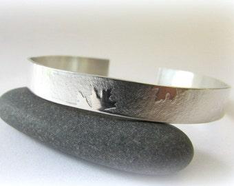 Cuff bracelet. Sterling Silver Bracelet. Silver cuff bracelet. Maine jewelry. Modern Silver Jewelry. Textured silver. Silver Bracelet