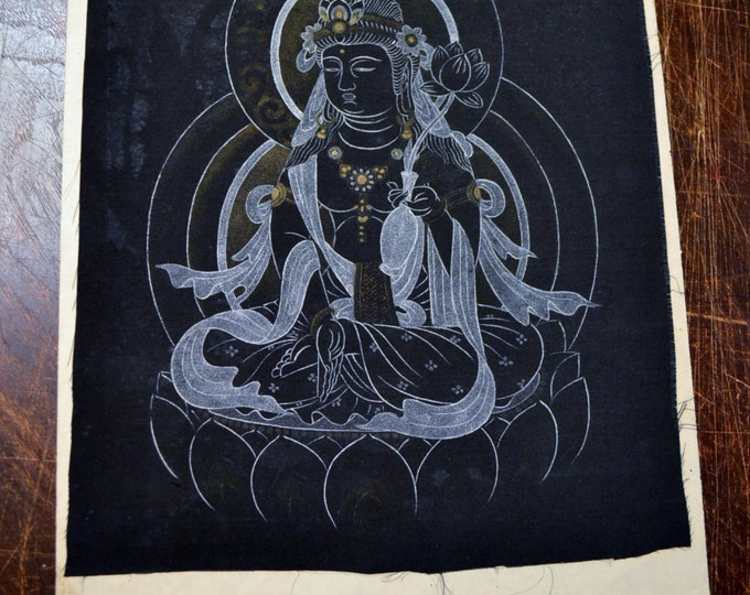 Vintage Buddha Deity Hand Painted on Silk Black and White Thangka Unframed Panchosporch