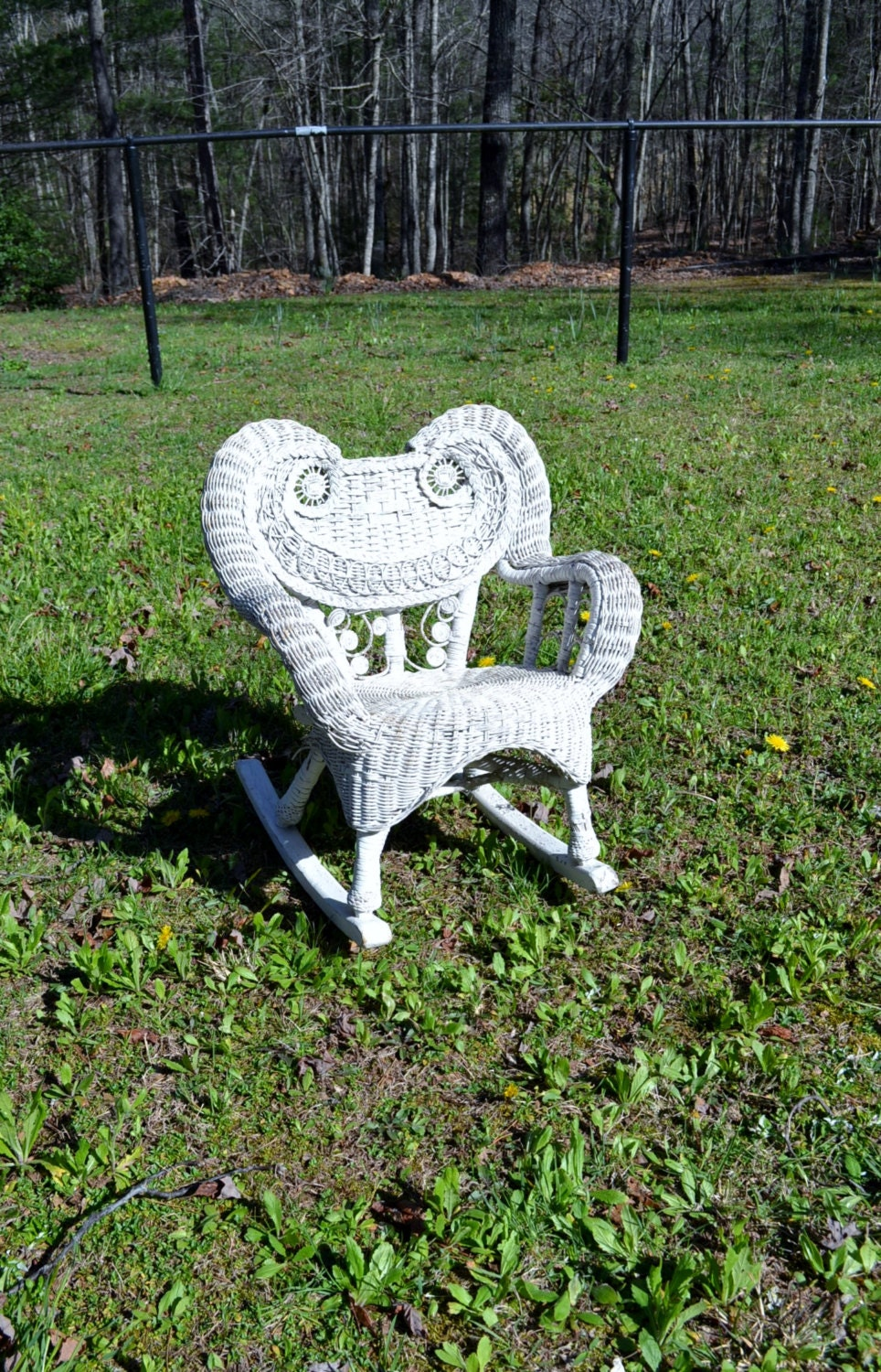 vintage wicker rocking chair child size rocker white chippy. Black Bedroom Furniture Sets. Home Design Ideas