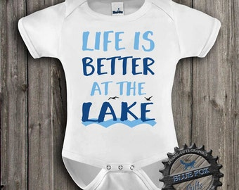 Baby Clothes-Outdoor Baby Clothing-Life is better at the lake-Lake Time-Baby Clothing-Baby bodysuit-Lake Baby Shirt-Blue Fox Apparel-299