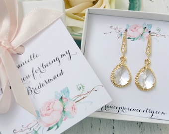 Bridesmaid jewelry set of 8 earrings gold teardrop earrings clear crystal earrings Bridesmaid Gift