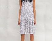White Sun Dress, Vintage 80s Drop Waist Midi White Polka Dot Sun Dress, Midi Dress, Sleeveless Sundress, Womens Dresses, Vintage Sun Dress