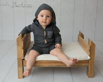 Sitter Romper, Hooded Romper, Photo Outfit Boy, Baby Romper Prop, Boy Outfit, Sitter Overall, Baby Photo Props, Photography Prop, GRAY