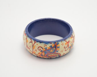 Blue hand decorated bracelet, decoupage bracelet, decoupaga bangle, handmade bracelet, wooden decoupage bracelet, wooden bracelet