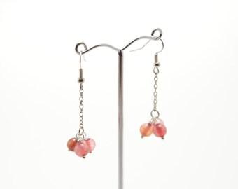 Agate earrings, pink agate, stone earrings, pink agate earrings, natural stone earrings, semi-precious stone, stone jewelry, beaded earrings