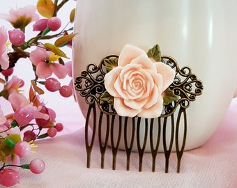 Pink Bridesmaid Gift, Light Pink Rose Comb, Flower Hair Comb, Wedding Hair Piece, Bridal Comb, Pink Magnolia Flower, Maid of Honor, H2028