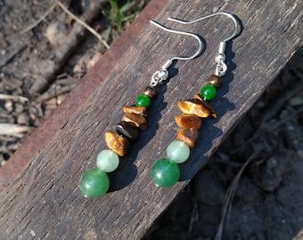 Jade and Tigereye gemstone dangle earrings